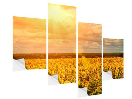 Klebeposter 4-teilig modern Goldenes Licht für Sonnenblumen