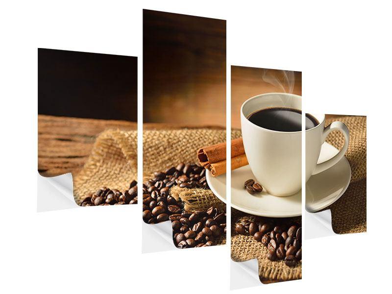 Klebeposter 4-teilig modern Kaffeepause