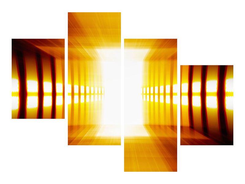 Klebeposter 4-teilig modern Abstrakter Goldener Raum