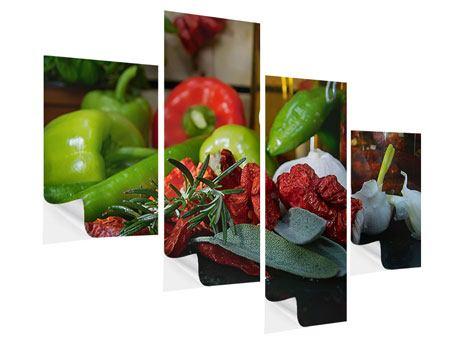 Klebeposter 4-teilig modern Mediterranes Gemüse