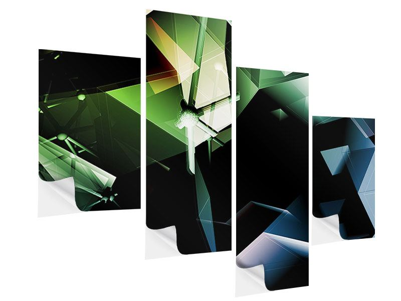 Klebeposter 4-teilig modern 3D-Polygon