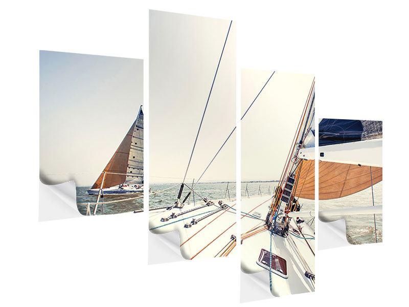Klebeposter 4-teilig modern Segelyacht