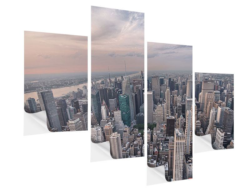 Klebeposter 4-teilig modern Skyline Blick über Manhattan