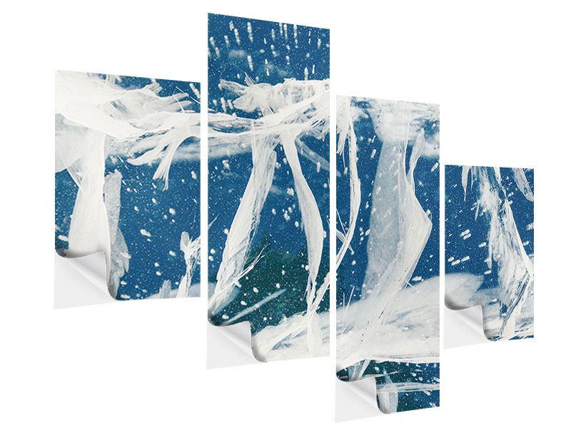 Klebeposter 4-teilig modern Eiskristalle
