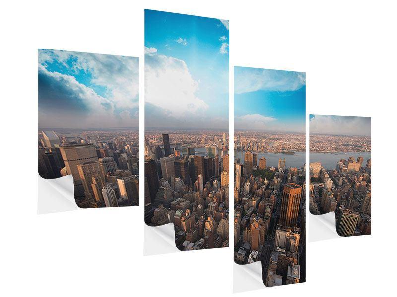 Klebeposter 4-teilig modern Skyline Über den Dächern von Manhattan