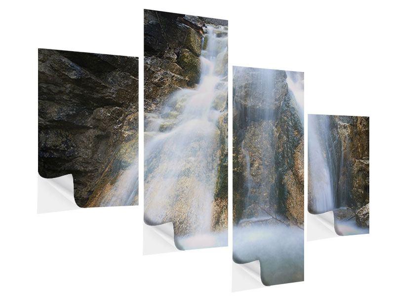 Klebeposter 4-teilig modern Imposanter Wasserfall