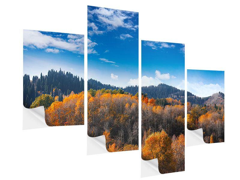 Klebeposter 4-teilig modern Wolken ziehen auf