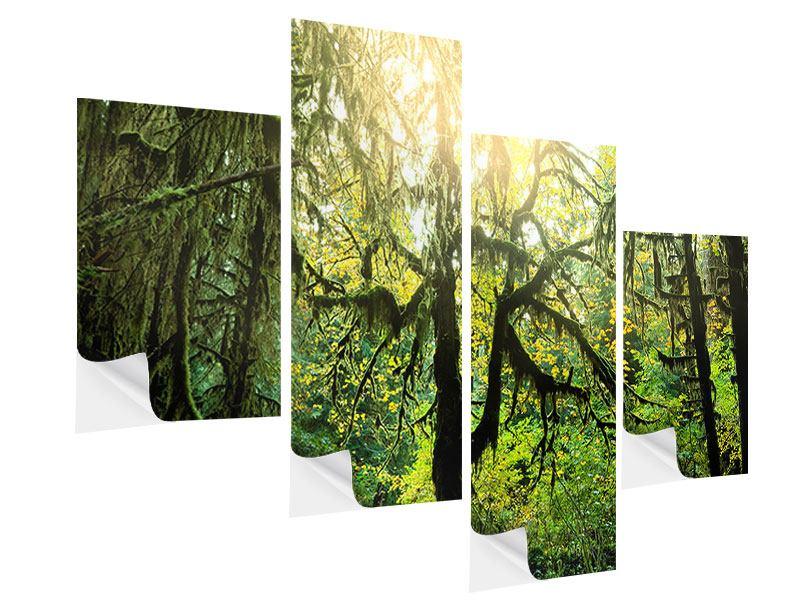Klebeposter 4-teilig modern Verträumter Wald