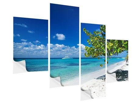 Klebeposter 4-teilig modern Happy Beach