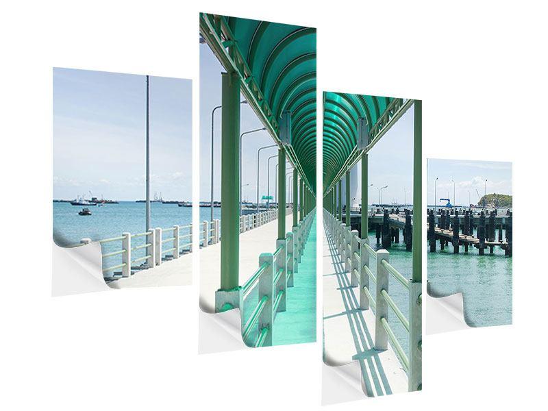 Klebeposter 4-teilig modern Die Brücke am Meer