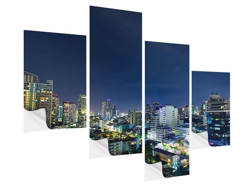 Klebeposter 4-teilig modern Skyline Nachts in Bangkok
