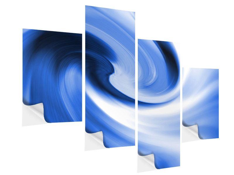 Klebeposter 4-teilig modern Abstrakte blaue Welle