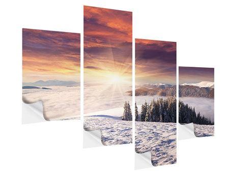 Klebeposter 4-teilig modern Sonnenaufgang Winterlandschaft