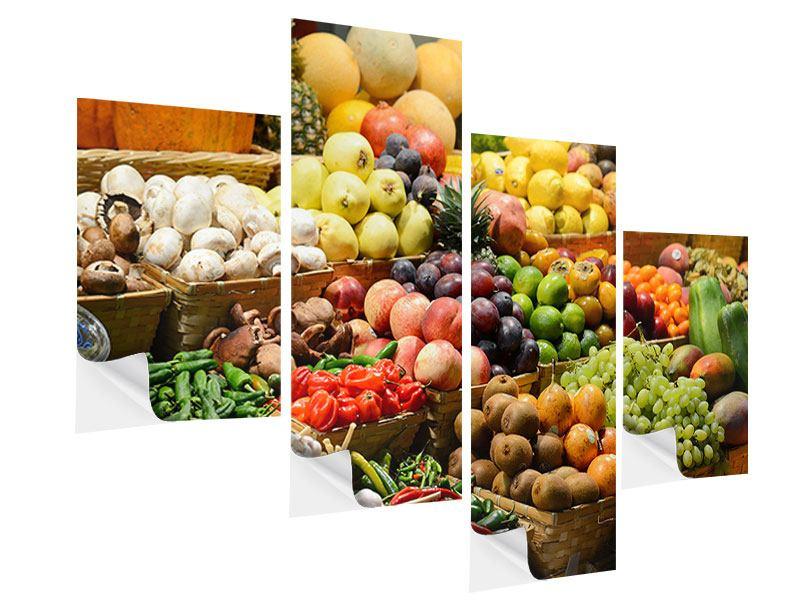 Klebeposter 4-teilig modern Obstmarkt