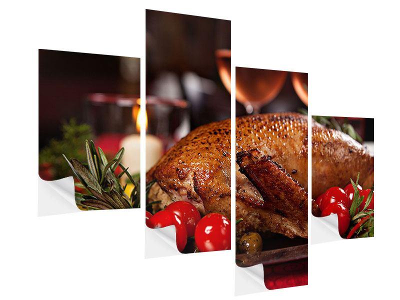 Klebeposter 4-teilig modern Köstliches Geflügel