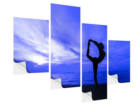 Klebeposter 4-teilig modern Yogaübung am Strand