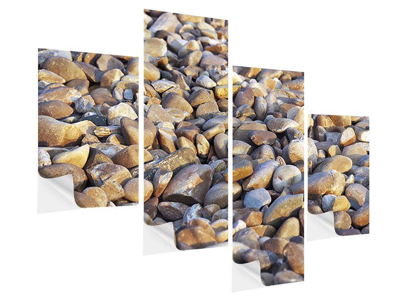 Klebeposter 4-teilig modern Strandsteine