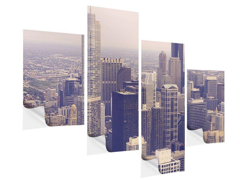Klebeposter 4-teilig modern Skyline Chicago in Sepia