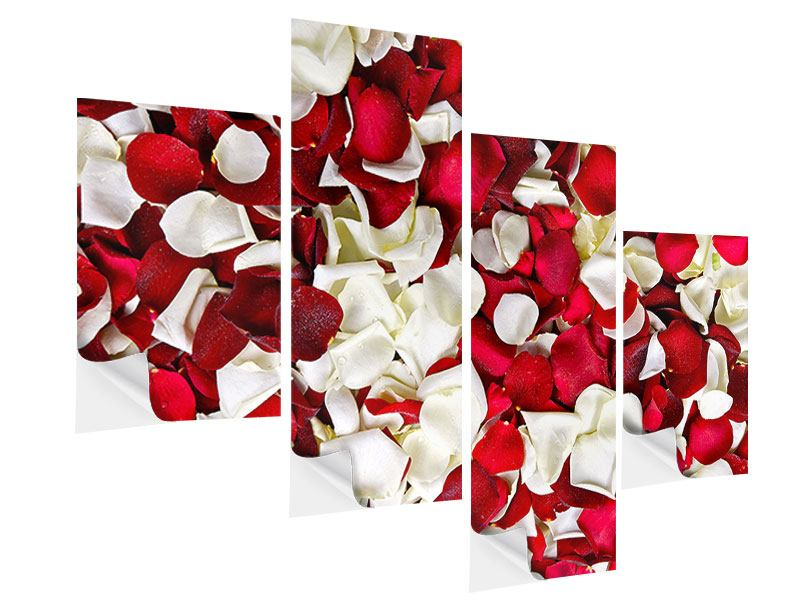 Klebeposter 4-teilig modern Rosenblätter