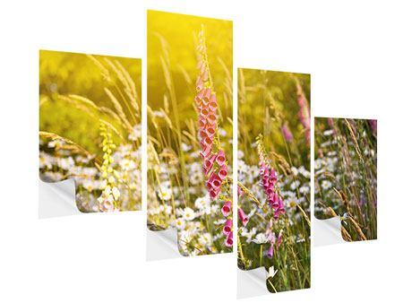 Klebeposter 4-teilig modern Sommerliche Blumenwiese