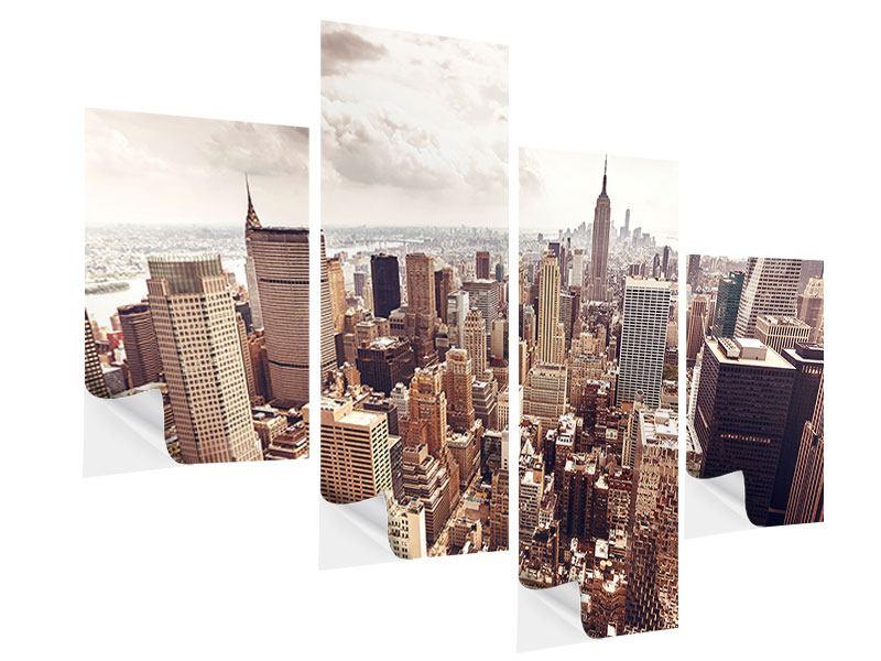 Klebeposter 4-teilig modern Skyline Über den Dächern Manhattans