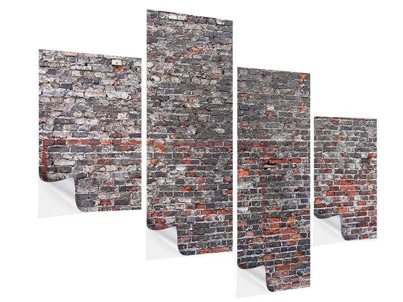 Klebeposter 4-teilig modern Alte Backsteine