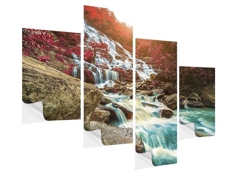 Klebeposter 4-teilig modern Exotischer Wasserfall