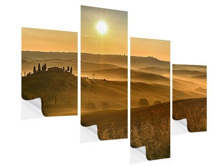 Klebeposter 4-teilig modern Sonnenuntergang im Gebirge