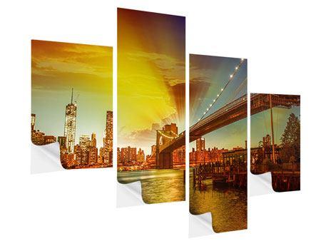 Klebeposter 4-teilig modern Skyline Brooklyn Bridge NY