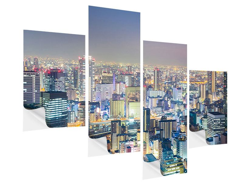 Klebeposter 4-teilig modern Skyline Osaka bei Sonnenuntergang