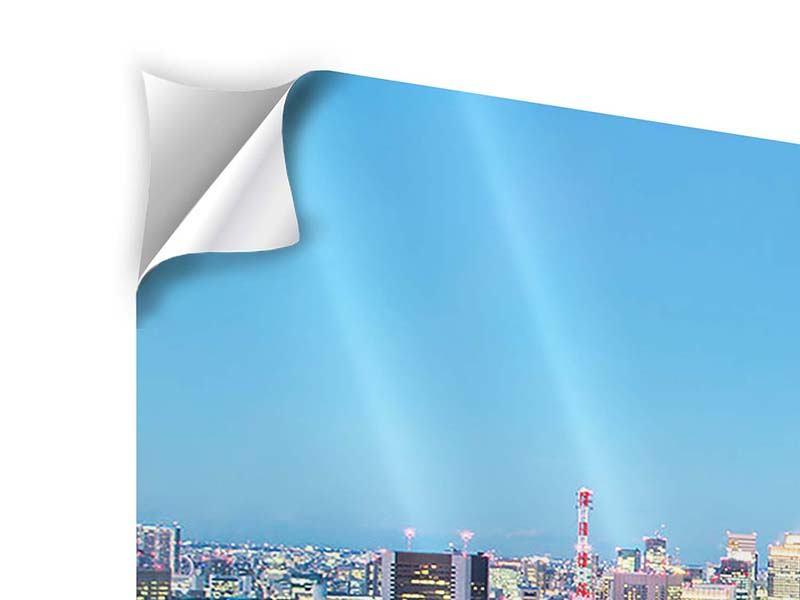 Klebeposter 4-teilig modern Skyline Tokio im Lichtermeer