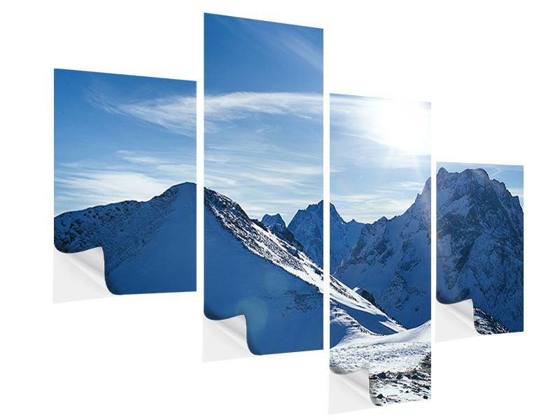 Klebeposter 4-teilig modern Der Berg im Schnee