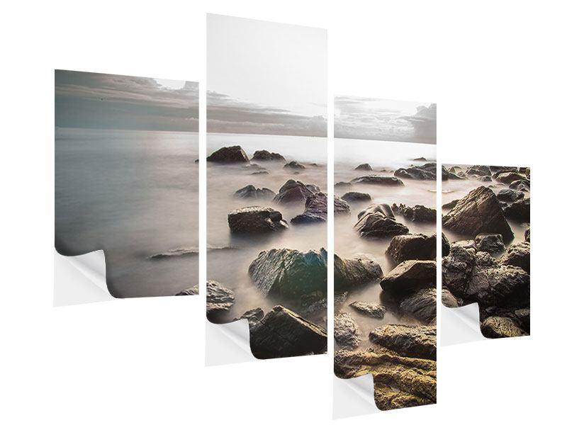 Klebeposter 4-teilig modern Steine am Strand