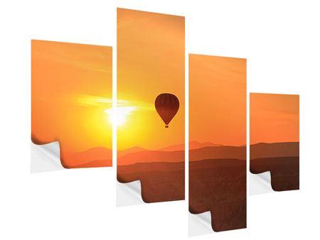 Klebeposter 4-teilig modern Heissluftballon bei Sonnenuntergang