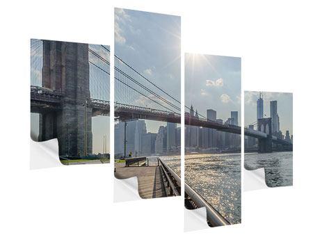 Klebeposter 4-teilig modern Brooklyn Bridge