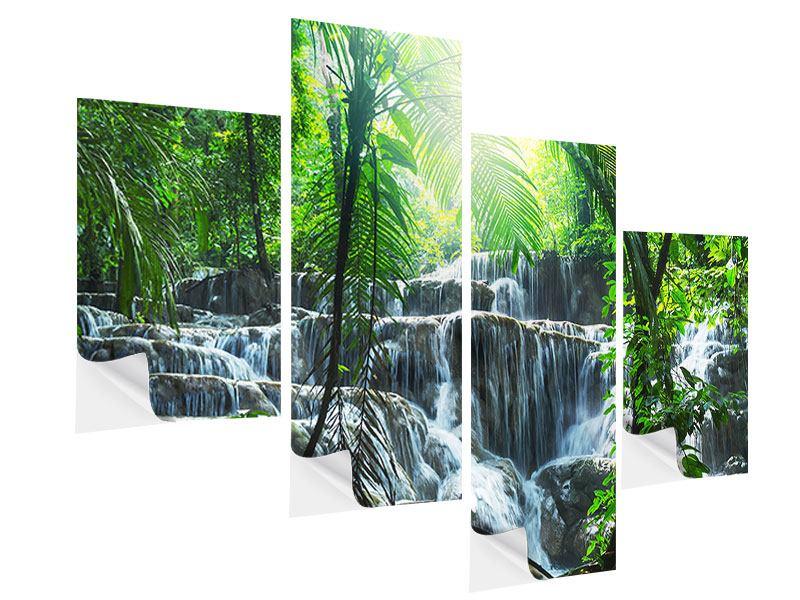 Klebeposter 4-teilig modern Wasserfall Agua Azul