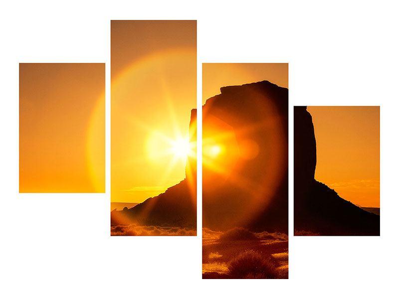 Klebeposter 4-teilig modern Sonnenuntergang Monument Valley