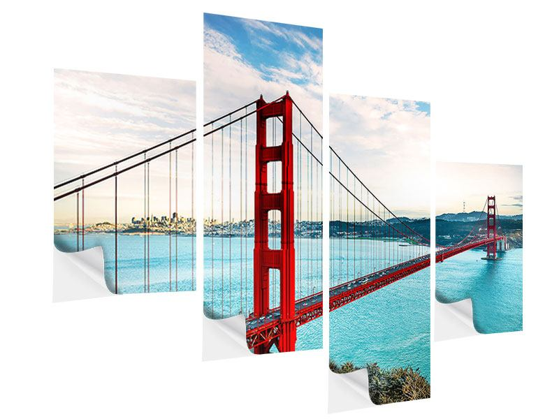 Klebeposter 4-teilig modern Golden Gate Bridge