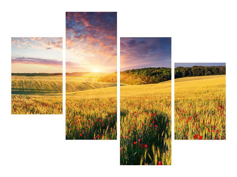 Klebeposter 4-teilig modern Ein Blumenfeld bei Sonnenaufgang