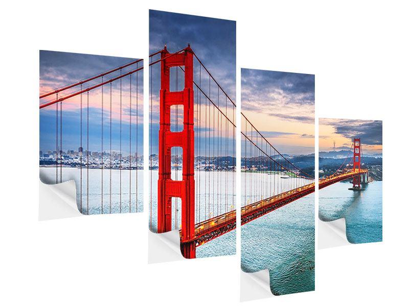 Klebeposter 4-teilig modern Der Golden Gate Bridge bei Sonnenuntergang