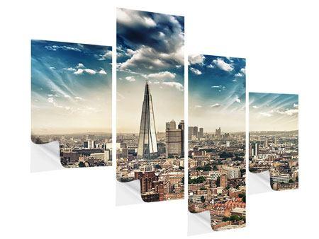 Klebeposter 4-teilig modern Skyline Über den Dächern von London