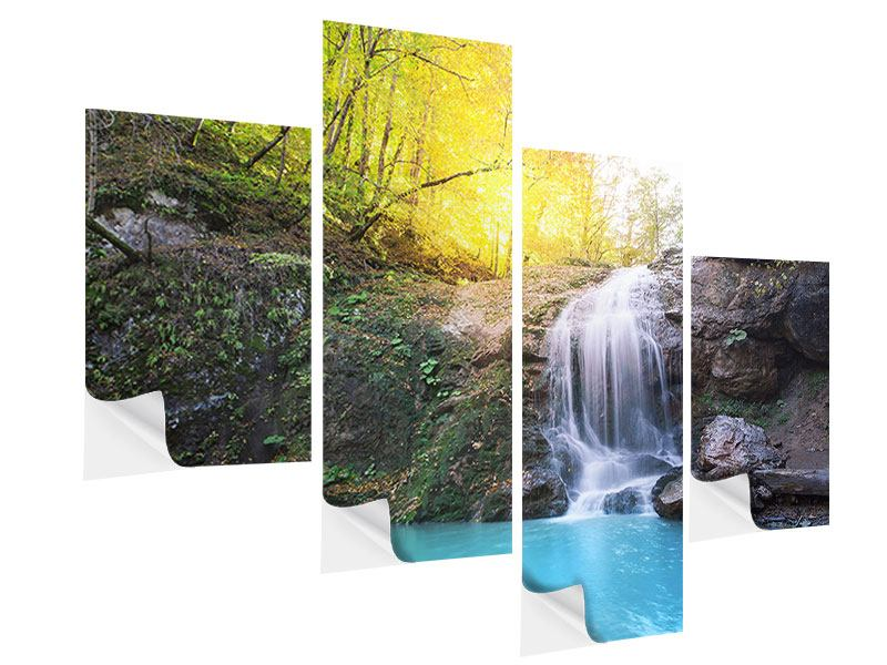 Klebeposter 4-teilig modern Fliessender Wasserfall