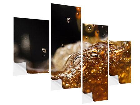 Klebeposter 4-teilig modern Cognac
