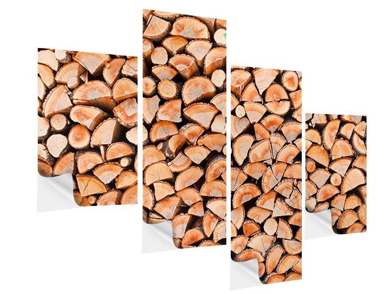 Klebeposter 4-teilig modern Birkenstapel