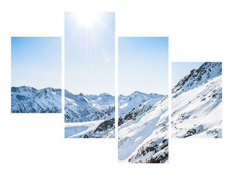Klebeposter 4-teilig modern Bergpanorama im Schnee