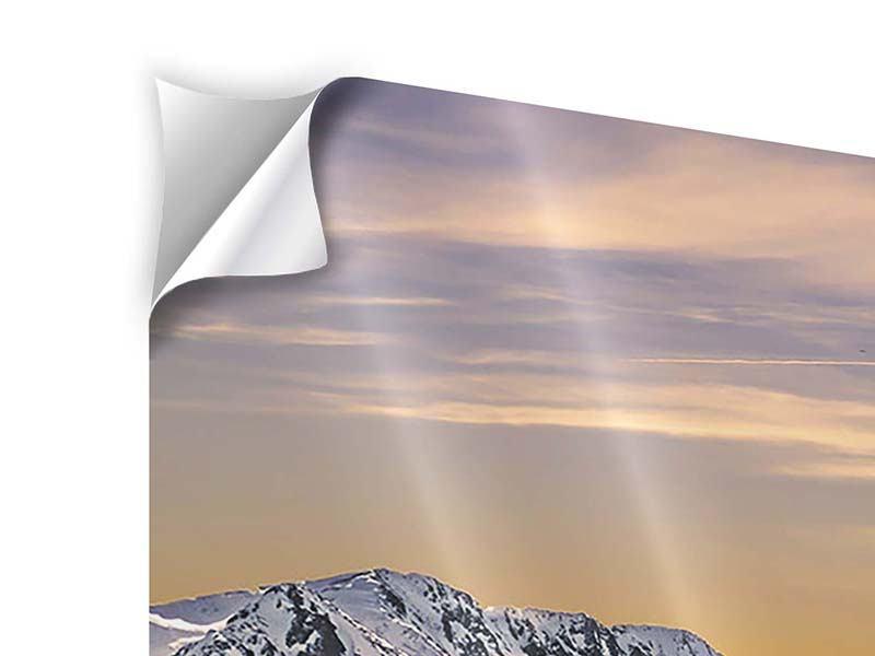 Klebeposter 4-teilig modern Sonnenuntergang in den Bergen