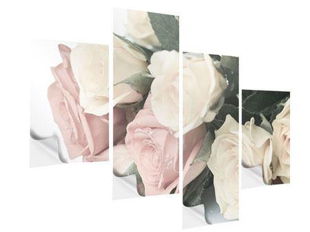 Klebeposter 4-teilig modern Rosenromantik