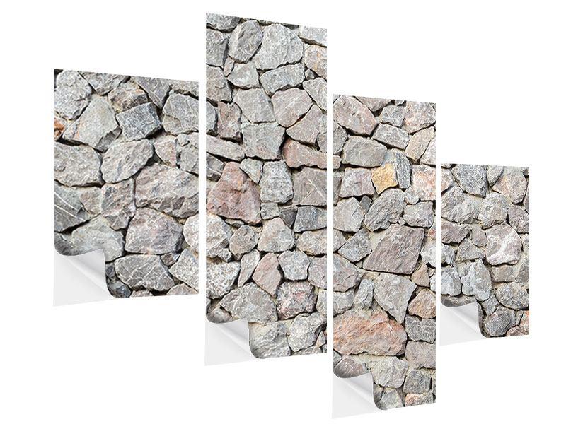 Klebeposter 4-teilig modern Grunge-Stil Mauer