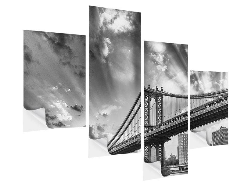 Klebeposter 4-teilig modern Manhattan Bridge