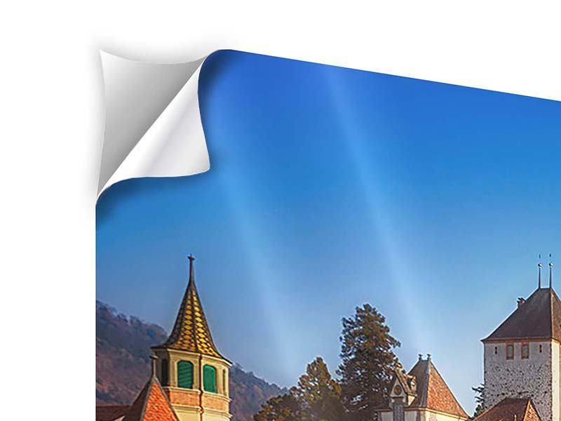 Klebeposter 4-teilig modern Schloss Oberhofen am Thunersee